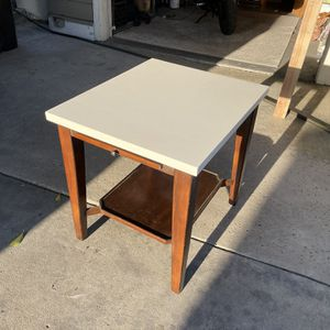 SIDE TABLE = Cool Pull Out Tray For A Martini(?) - H=25, W=22, D=26 - Light Espresso and White - Top Is Refinished - SDSU area - Delivery For A Fee for Sale in San Diego, CA
