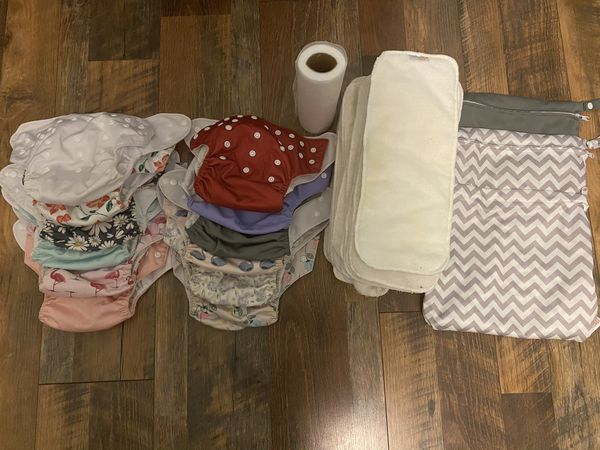 12 Cloth Diapers & 2 Wet Bags - Girls