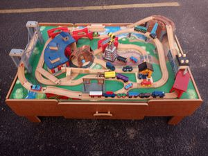 Wooden play table and tomhas the train set for Sale in Wichita, KS