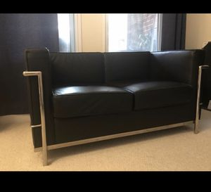 Modern Black Leather & Chrome Loveseat Couch for Sale in Washington, DC