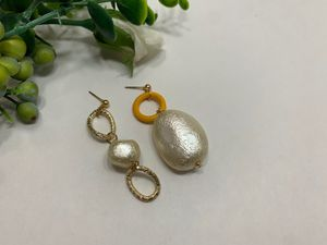 Gold Plated Asymmetrical Long Matte Metal Drop Baroque Earring, Yellow for Sale in Tustin, CA