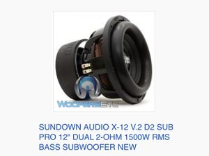 "Sundown audio X-12 V.2 D2 Sub pro 12"" 1500w RMS bass subwoofer for Sale in Houston, TX"