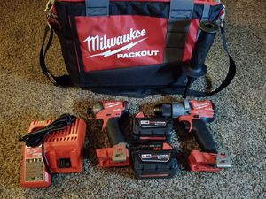 Milwaukee M18 FUEL 18-Volt Lithium-Ion Brushless Cordless Surge Impact and Hammer Drill Combo Kit with 15in Packout Tool Bag for Sale in Modesto, CA