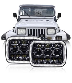TRUCKMALL 5x7 DOT 7x6 inch LED Headlights Headlamps Bulbs Light Set Kit for Jeep Cherokee XJ Wrangler YJ Comanche MJ Toyota Corolla Tacoma Ford F-350 for Sale in City of Industry, CA