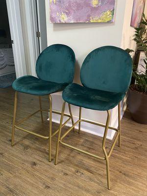 Green velvet upholstered counter stools for Sale in Washington, DC