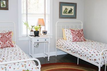 Two Farmhouse Twin Frames Plus Two New Mattressses, Bedding And Pillows! Never Been Used! for Sale in Scottdale,  GA
