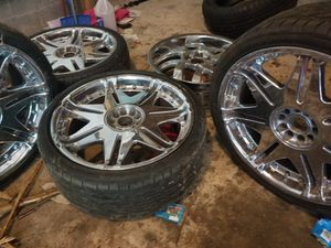 4 chrome 20 inch rims and tires with spare rim for Sale in Stafford, VA