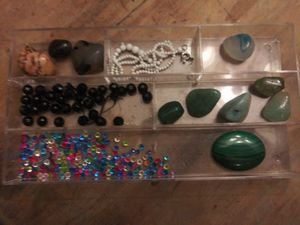 Huge lot jewelry supply findings vintage crystals beads origami owl birthstones craft destash jewelers uncut stones jade for Sale in High Point, NC