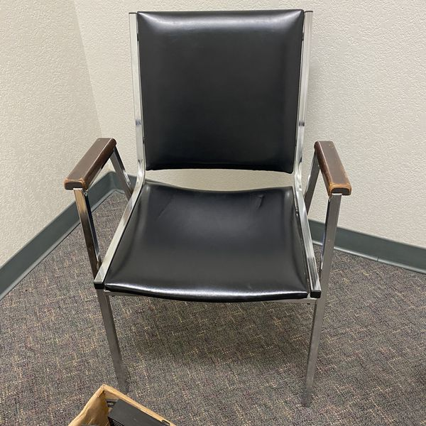 3 stackable Chrome And Black Vinyl Adir/ Office Chairs.