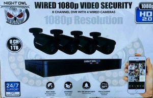 8-Night owl 1080p 1TB DVR Security Surveillance System with 4-Wired Human Detection Bullet Cameras for Sale in Fresno, CA