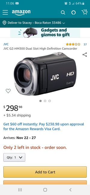 JVC HD Everio Camcorder GZ-HM300 for Sale in Boca Raton, FL