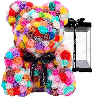 Rose Flower Teddy Bear,Fully Assembled 10 Inches PE Rose Flower Hand Made Artificial Teddy Bear, for Your Lover or Kids (Colorful) for Sale in Ontario, CA