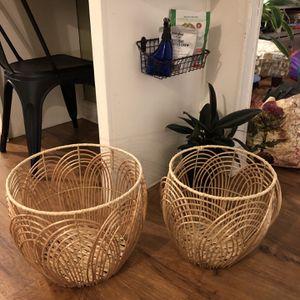 Rattan Baskets, Set Of Two for Sale in San Bernardino, CA