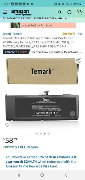 Model No. A 1382. Temark New A 1382 battery for Mac Book Pro 15 inch A 1286. for Sale in Moncks Corner, SC
