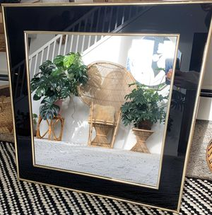 • vintage retro deco 80's gold + black framed mirror wall hanging • for Sale in Maple Valley, WA