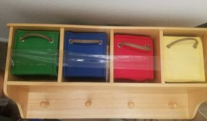 Wall shelf with bins and hooks for Sale in Las Vegas, NV