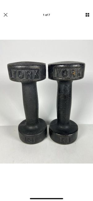 Vintage York 3 pound dumbbells for Sale in Oceanside, NY