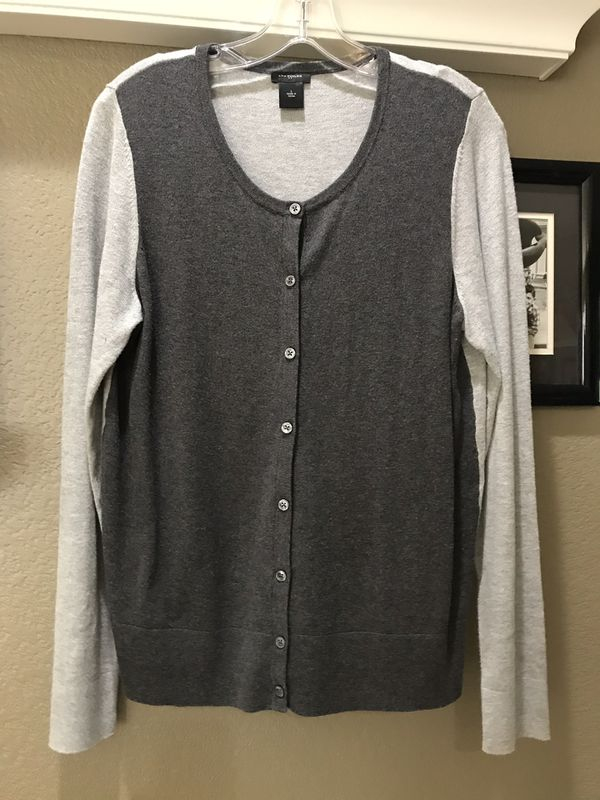 Ann Taylor two-tone gray cardigan, size large