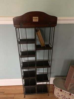 Pier 1 Imports 2 identical shelves 2 Pier 1 Imports identically carved wood and wrought iron free standing shelves with all accessories in picture in for Sale in Point Pleasant, NJ