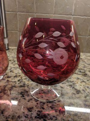 Red glass vase for Sale in Leesburg, VA
