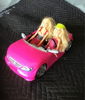 2 barbies with pink convertible for Sale in Corona, CA