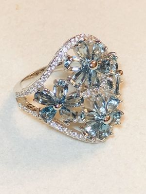 Sterling Silver.925 London Blue Topaz And CZ Ring for Sale in Santee, CA