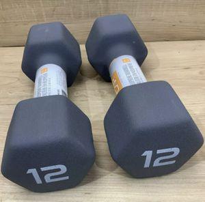 12LBS CAP DUMBBELLS SET - BLACK (TOTAL 24LBS) for Sale in Port Hueneme, CA
