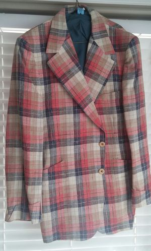 70's Men's Pinkish Red/Navy/Tan Plaid Linen Sportscoat/Halloween Costume for Sale in Germantown, MD