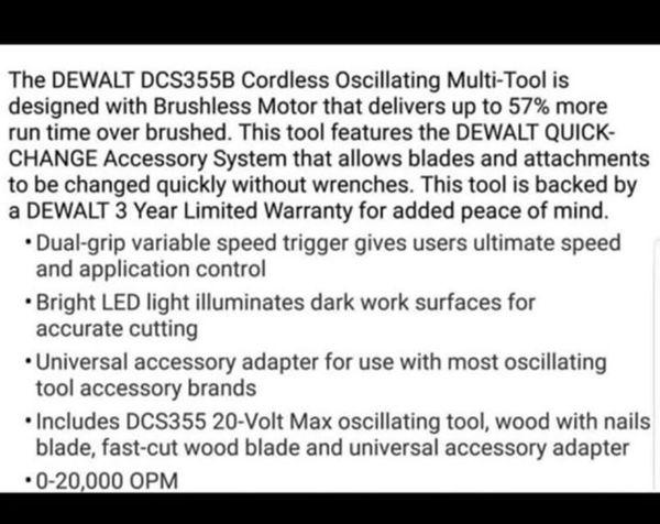 BRAND NEW IN BOX DEWALT 20V BRUSHLESS OSCILLATING MULTI-TOOL (TOOL ONLY) DCS355B