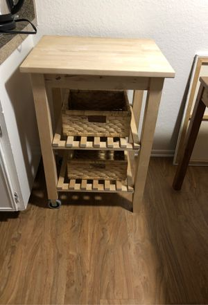 IKEA wooden microwave kitchen utility rolling table stand, Like New for Sale in Laguna Hills, CA