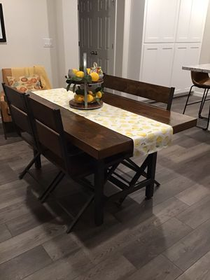 Farmhouse style dining table with chairs and bench for Sale in Roseville, CA