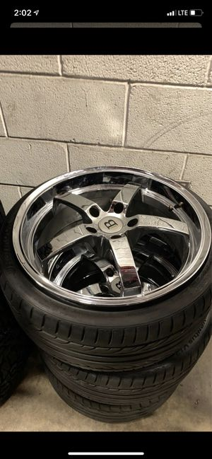BMW 19 Inch Chrome 5-120 4 Wheels 3 Hankook Tires for Sale in Rowlett, TX