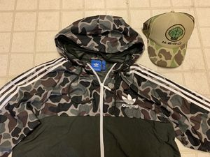 Adidas bape print jacket hoody with nerd hat for Sale in Laurel, MD