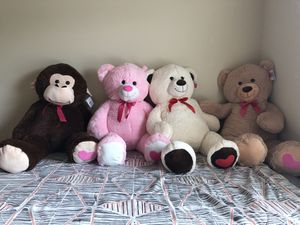 4 feet tall teddy bear or monkey brand new pink, white, brown for Sale in McDonough, GA