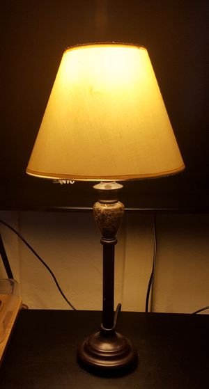 Small lamp, beige cover, brown and marble base for Sale in San Diego, CA