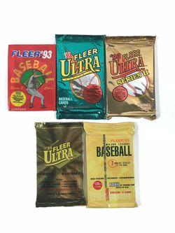 Baseball Cards Sealed 5 Packs Fleer 75 Cards Total for Sale in Portland,  OR
