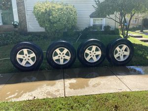 "Five (5) 2016 Jeep Wrangler 17"" Wheels and Goodyear Wrangler 255/75/r17 Tires. Includes Gorilla Security Anti Theft Lug Nuts for Sale in Alexandria, VA"