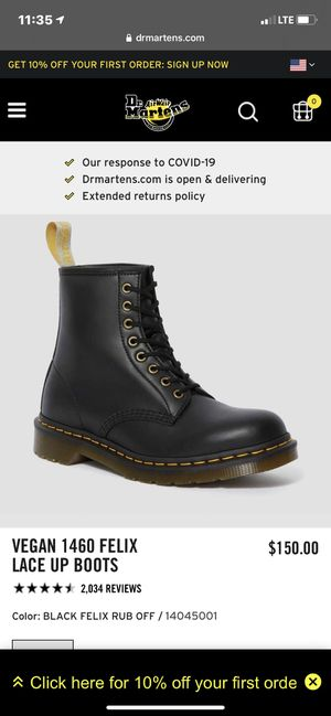 Dr.martens vegan 1460 Felix lace up boots for Sale in Los Angeles, CA