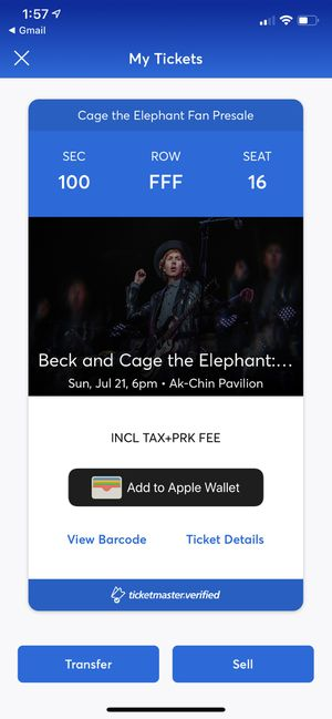 Beck and Cage the Elephant great seats Sec 100 Row FFF seat 16 for Sale in Mesa, AZ