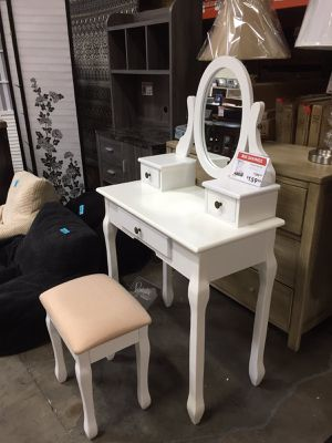 Kaslyn Vanity Set with Stool, White for Sale in Downey, CA