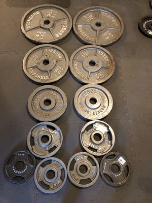 Standard barbell Olympic weights for Sale in Martinsburg, WV