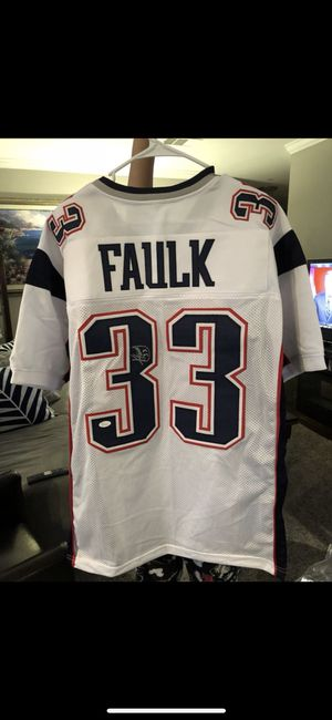 Kevin Faulk Autographed white custom jersey XL JSA certified $120 for Sale in Gaithersburg, MD