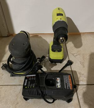 Royobi Cordless 18 Volt Drill , Battery, 18 Volt Charger , and Corded Sander No trade / Pickup Only for Sale in Fort Lauderdale, FL