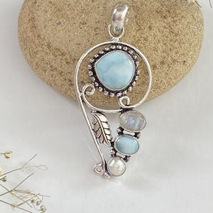 Unique handcrafted larimar, moonstone and biwa pearl 925 sterling silver overlay pendant+chain for Sale in Camarillo, CA
