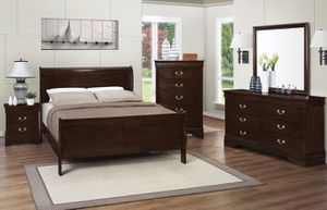 (Brand New In Boxes) Queen Size Cappuccino Sleigh Bedroom Set for Sale in Atlanta, GA