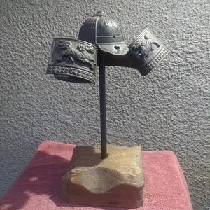 Vintage Japanese Samurai Decorative Helmet With Solid Wood Standing for Sale in Ontario, CA
