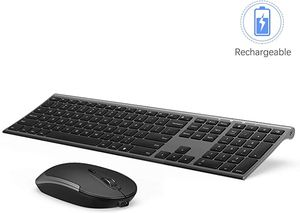 Wireless Keyboard and Mouse, 2.4GHz Rechargeable Compact Quiet Full-Size Keyboard and Mouse Combo with Nano USB Receiver for Windows, Laptop, PC, No for Sale in Arlington, VA