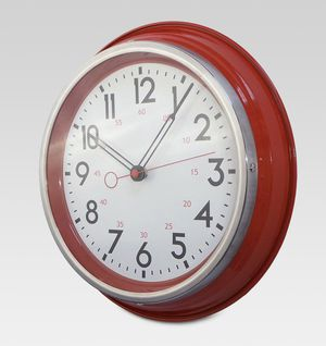 Wall clock red with stainless steel modern kitchen decor brand new never opened for Sale in San Diego, CA