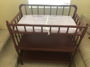 Wooden Changing table with pad and cover for Sale in Corona, CA