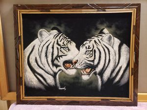 Black Velvet Painting White Tigers for Sale in Fuquay-Varina, NC